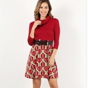 Solid bodice mini dress in fit & flare style
